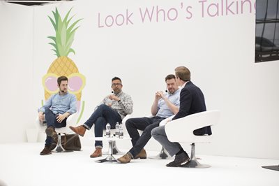 Bubble London, panel of four men with microphones sitting on chairs in a circle, career advice, professional advice, personla life and work, family and work, advice from fathers, fathers advice, childrenswear show, clothes for children,